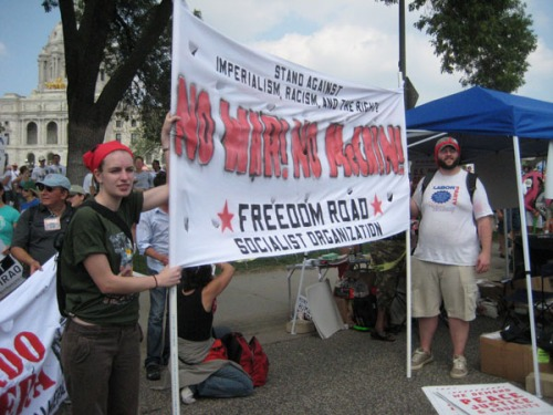 Freedom Road banner at the RNC protest.