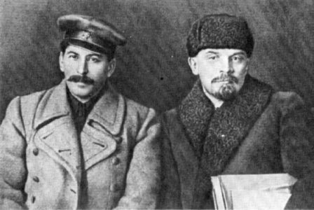 Lenin and Stalin, the architects of socialism in the USSR before the revisionist turn following Stalin's death